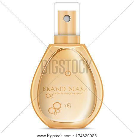 peach Colour realistic parfume bottle isolated on white. Mock-up of Perfume advertisement. Women perfume in beautiful bottle isolated on white.