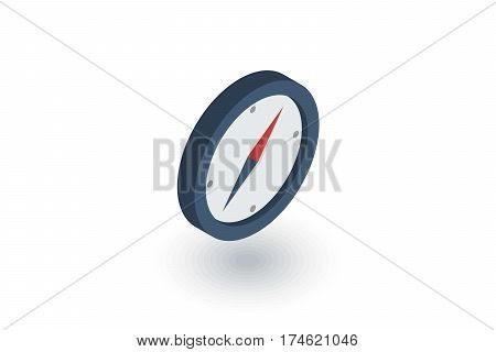 Compass, navigation isometric flat icon. 3d vector colorful illustration. Pictogram isolated on white background