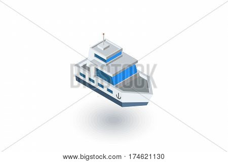 Yacht boat isometric flat icon. 3d vector colorful illustration. Pictogram isolated on white background