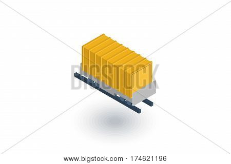 Railway container, wagon load isometric flat icon. 3d vector colorful illustration. Pictogram isolated on white background