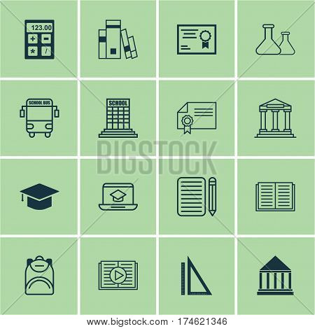 Set Of 16 Education Icons. Includes Graduation, Haversack, Taped Book And Other Symbols. Beautiful Design Elements.