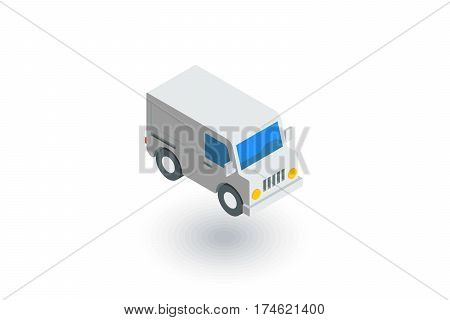 minivan, transportation, car isometric flat icon. 3d vector colorful illustration. Pictogram isolated on white background