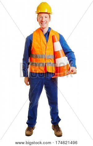 Construction worker with a helmet and a safety vest