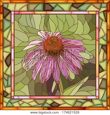Vector mosaic of Echinacea in square stained-glass window frame.