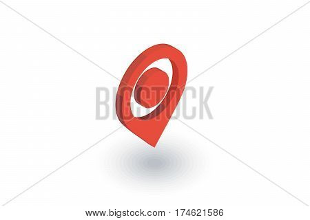 Navigation, location marker, cursor isometric flat icon. 3d vector colorful illustration. Pictogram isolated on white background