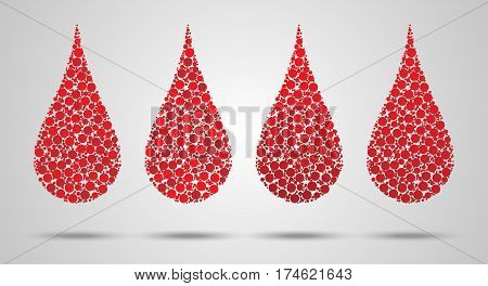 Set Of Blood Drops Made Of Circles. Hemophilia Day Concept. Vector Illustration Eps 10.