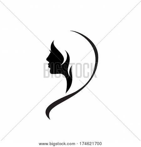 Beauty woman face silhouette in profile. Hair Fashion icon