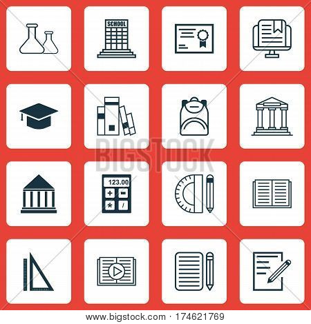 Set Of 16 Education Icons. Includes Measurement, Electronic Tool, Graduation And Other Symbols. Beautiful Design Elements.