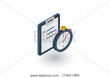 stopwatch. Time management, control, planning isometric flat icon. 3d vector colorful illustration. Pictogram isolated on white background