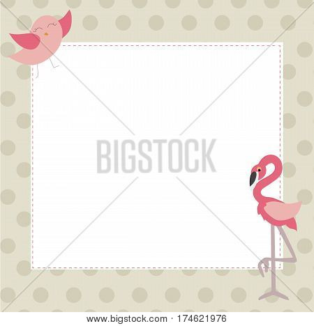 cute baby photo frame with bird and pink flamingos. template for decoration and decor. vector illustration. baby shower or arrival