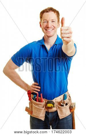 Man as a craftsman holding thumbs up and smiling content