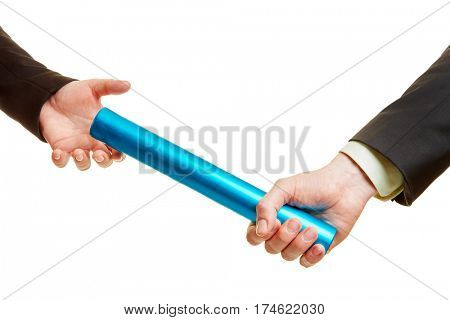 Team work concept with baton and two hands passing it