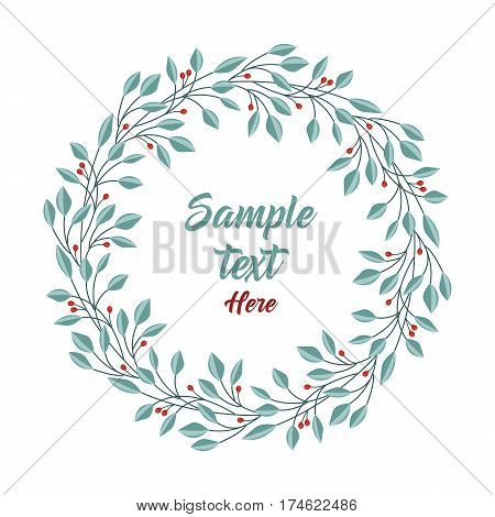 Vector illustration of a natural frame, romantic decoration branches with leaves