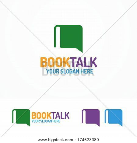Book talk logo set different color isolated on white background for use education club, learning blog, chat information etc. Vector Illustration