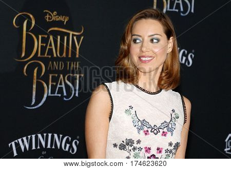 Aubrey Plaza at the Los Angeles premiere of 'Beauty And The Beast' held at the El Capitan Theatre in Hollywood, USA on March 2, 2017.
