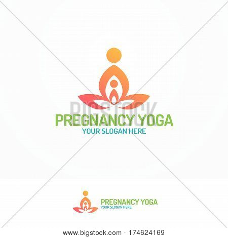 Pregnancy yoga logo set with silhouette mam and baby color flat modern style for studio, class and school yoga. Vector Illustration