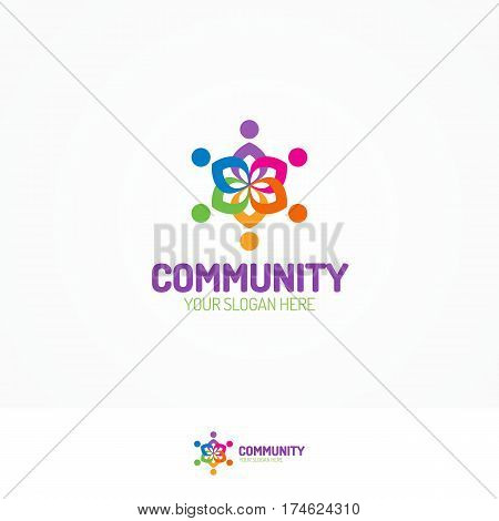Support community logo consisting as team people different color for use teamwork, social logo, partnership, communication and family logo