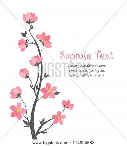 Vector illustration of decorative branches with flowers. Spring Sakura blossom