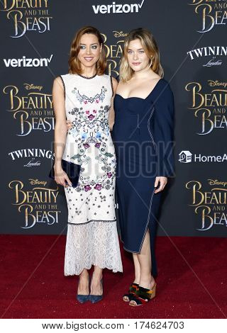 Aubrey Plaza and Rachel Keller at the Los Angeles premiere of 'Beauty And The Beast' held at the El Capitan Theatre in Hollywood, USA on March 2, 2017.