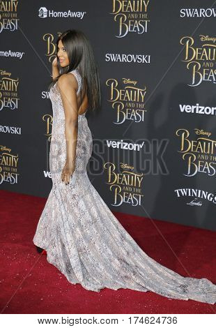 Toni Braxton at the Los Angeles premiere of 'Beauty And The Beast' held at the El Capitan Theatre in Hollywood, USA on March 2, 2017.