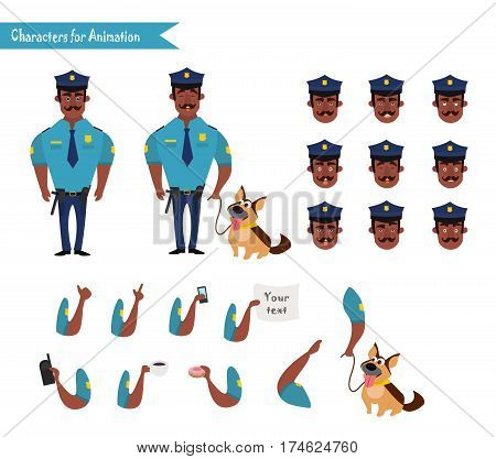 Set of colorful isolated vector African American policeman at work. African American Policeman Funny Characters Set. policeman character for scenes. Parts of body template for animation. Emoji face icons