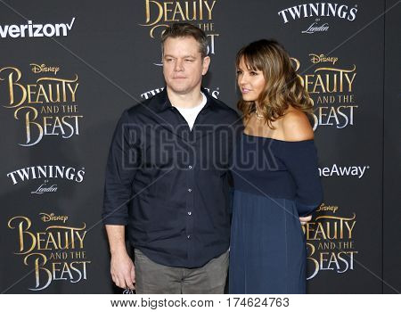 Matt Damon and Luciana Barroso at the Los Angeles premiere of 'Beauty And The Beast' held at the El Capitan Theatre in Hollywood, USA on March 2, 2017.