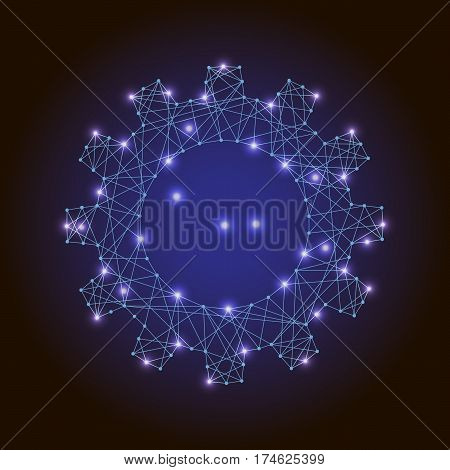 abstract vector image gear or cogwheel of polygonal blue glowing lines points and stars on white background