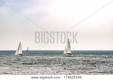 Sailing ship on the sea. Tall Ship.Yachting and Sailing travel. Cruises and holidays