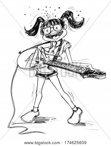 Cartoon charcter design girl acting to playing electric guitar feeling fun Pencil sketch hand drawing black and white.