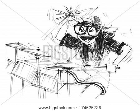 Cartoon charcter design girl acting to playing drum set and swinging bat feeling very funny Pencil sketch hand drawing black and white.