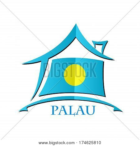 House icon made from the flag of Palau