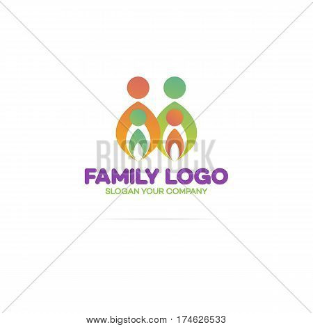 Family logo consisting of in simple figures mom, dad and children modern color style used for family medicine practice, people logo, team, group, friendship. Vector Illustration