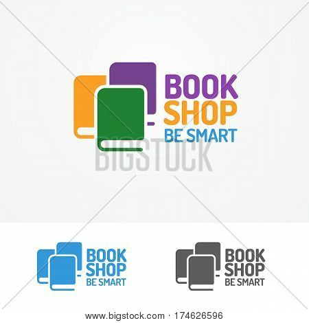 Book shop logo set consisting of books different color and sign be smart isolated on background for use bookshop, store, market, sale etc. Vector Illustration
