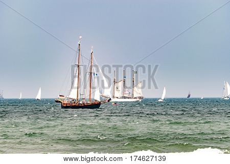 Sailing ship on the sea. Tall Ship.Yachting and Sailing travel. Cruises and holidays. Postcard and Book cover