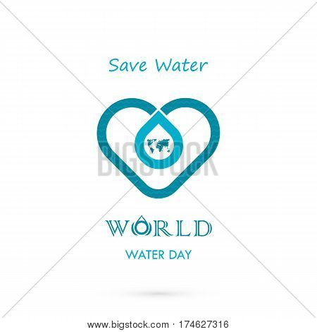 Water drop with world icon vector logo design template.World Water Day idea campaign for greeting card and poster.Vector illustration