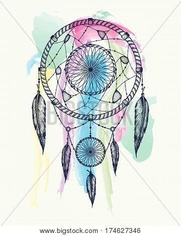 Dream catcher tattoo art. Dot works vector illustration. Design for t-shirts cover.