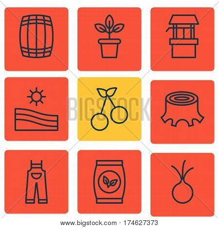 Set Of 9 Planting Icons. Includes Meadow, Cask, Tree Stub And Other Symbols. Beautiful Design Elements.