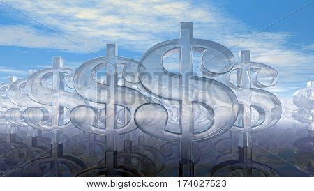 glass dollar symbols under cloudy blue sky - 3d illustration