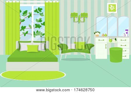 The interior of a bedroom and a summer landscape outside the window. Room in a bright green and mint color. Cartoon. Vector illustration.
