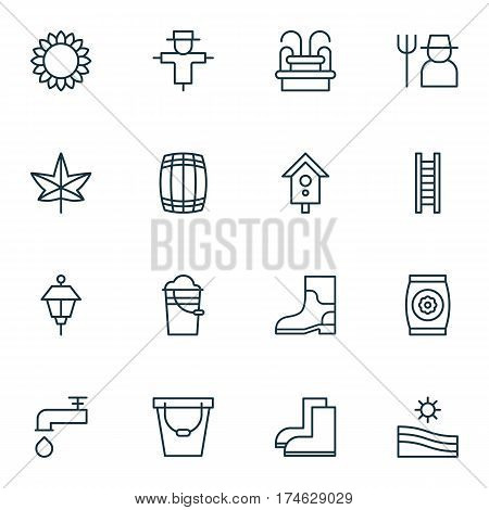 Set Of 16 Planting Icons. Includes Grower, Spigot, Lantern And Other Symbols. Beautiful Design Elements.