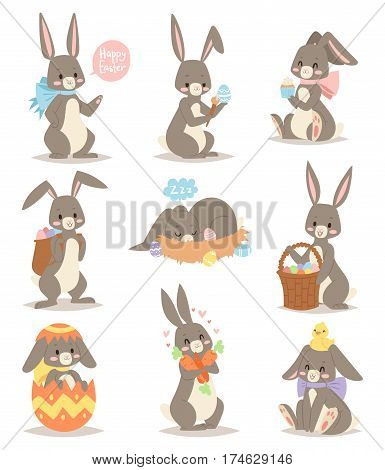 Happy rabbit cartoon character cheerful mammal holiday art hare with basket and cute easter bunny with eggs funny gray animal vector illustration. Comic adorable zoo spring fluffy fur.