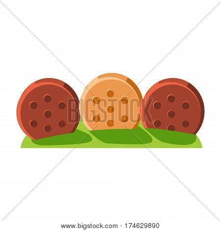 Fence Made Of Cookies, Fairy Tale Candy Land Fair Landscaping Element In Childish Colorful Design Isolated Object. Sweet landscape Clipart Item In Bright Color Vector Illustration.