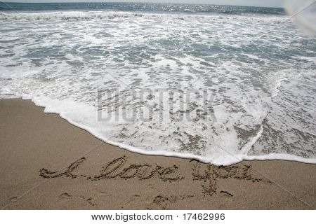 Beach Ocean Sky Background With I Love You in Sand