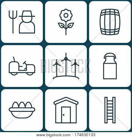 Set Of 9 Farm Icons. Includes Grower, Farmhouse, Jug And Other Symbols. Beautiful Design Elements.