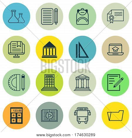 Set Of 16 Education Icons. Includes Document Case, Paper, Education Center And Other Symbols. Beautiful Design Elements.