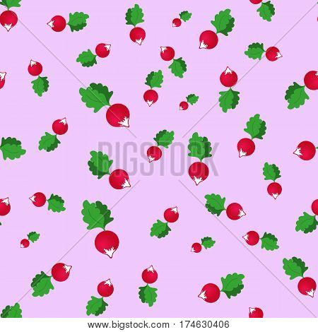 seamless pattern with radish on a pink background
