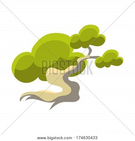 Green Tree With White Trunk Bonsai Miniature Traditional Japanese Garden Landscape Element Vector Illustration. Japan Culture Mini Plant Growing Art Isolated Landscaping Item