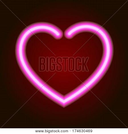 pink neon glowing heart symbol of love on dark background of vector illustration