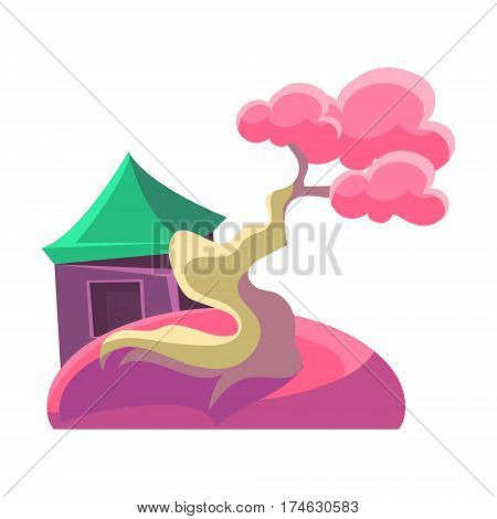 Pink Tree And Building, Bonsai Miniature Traditional Japanese Garden Landscape Element Vector Illustration. Japan Culture Mini Plant Growing Art Isolated Landscaping Item
