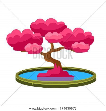 Pink Tree Growing In Pond Bonsai Miniature Traditional Japanese Garden Landscape Element Vector Illustration. Japan Culture Mini Plant Growing Art Isolated Landscaping Item